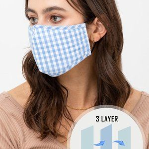 Gingham Blue Check Reusable Washable Face Mask